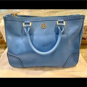 Tory Burch | Blue Embroidered Leather Purse